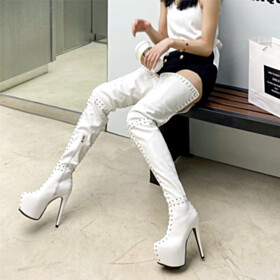 Going Out Footwear White Stilettos Classic Fur Lined 14 cm High Heel Tall Boots Over The Knee Boots Platform Faux Leather Studded