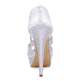 5 inch High Heeled White Peep Toe Sandals Strappy Wedding Shoes For Women