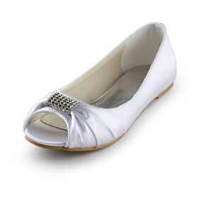 Shoes Open Toe Satin Dress Shoes White Flats With Rhinestones Slip On