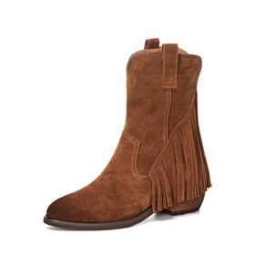 Low Heels Fur Lined Brown Fringe Leather Chunky Heel Cowboy Booties Vintage Suede