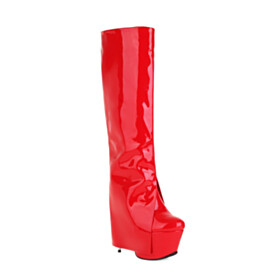 Faux Leather Knee High Boots Red Tall Boots 2021 Stylish Patent