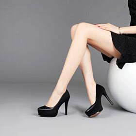 Black Leather Office Shoes Classic Platform Heel Pumps 11 cm High Heel