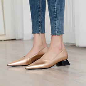 Champagne Chunky Leather Low Heel Pointed Toe Pumps Womens Shoes