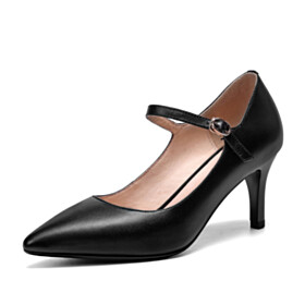 Mary Jane Ankle Strap Black Mid Heel Shoes Classic Pumps