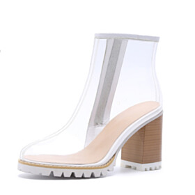 Ankle Boots High Heels White Modern Transparent