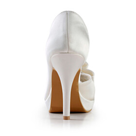 Peep Toe 4 inch High Heel Slip On Wedding Shoes