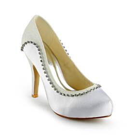 Rhinestones Round Toe Stilettos Beautiful With Metal Jewelry 10 cm High Heels Dress Shoes White Slip On