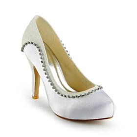 Rhinestones Round Toe Stilettos Beautiful With Metal Jewelry 10 cm High Heels Dress Shoes White Slip On