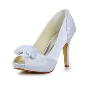 Spring Peep Toe Round Toe 10 cm High Heel Slip On Wedding Shoes Pleated Stiletto Party Shoes White Formal Dress Shoes