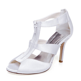 Strappy 4 inch High Heeled Wedding Shoes For Bridal Womens Sandals Round Toe Open Toe