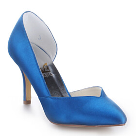 Party Shoes Pointed Toe Closed Toe 3 inch High Heel Pumps Slip On Blue Wedding Shoes For Bridal