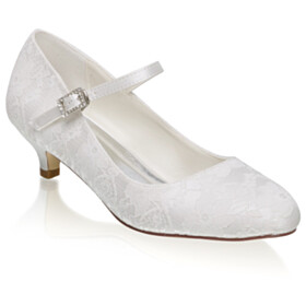 Low Heel Lace Rhinestones White Dress Shoes Wedding Shoes Beautiful