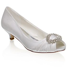 Open Toe Pumps Low Heel Slip On White With Rhinestones With Metal Jewelry Wedding Shoes