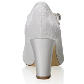 Bridals Wedding Shoes Ankle Strap Lace Round Toe 7 cm Heel Stiletto