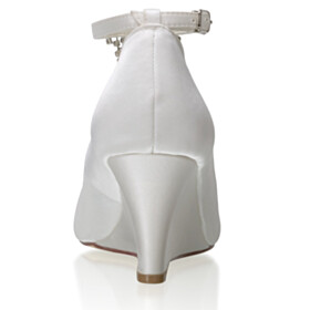 Fringe Peep Toe Rhinestones Pumps Round Toe Wedding Shoes With Ankle Strap 7 cm Mid Heel Dress Shoes