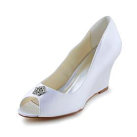 Rhinestones White Wedding Shoes Mid Heels Peep Toe Dress Shoes Wedge Pumps