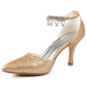 Pointed Toe Stiletto Champagne With Ankle Strap With Metal Jewelry Gorgeous Closed Toe Sequin With Rhinestones Sparkly 3 inch High Heeled Wedding Shoes For Women Party Shoes