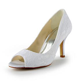 With Flower Bridal Shoes Round Toe Elegant Slip On Pumps Peep Toe 8 cm High Heels Stiletto