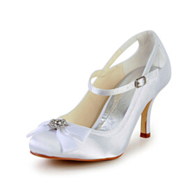With Ankle Strap Pumps With Bowknot 8 cm High Heel White Satin Bridal Shoes Elegant Round Toe