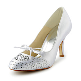 Round Toe Cut Out High Heels 2021 Pumps With Sweet Heart With Rhinestones With Bow Evening Party Shoes Bridals Wedding Shoes