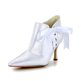 High Heel Lace Up White Stilettos Closed Toe Dress Shoes Pointed Toe Ankle Boots Beautiful Wedding Shoes For Women