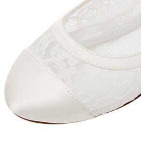 Flats Lace Round Toe Wedding Shoes For Bridal Satin Slip On