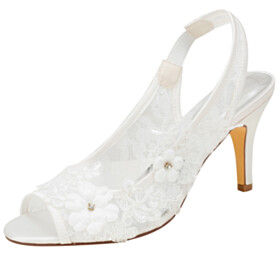 Bridal Shoes Flower 3 inch High Heeled Lace Sandals Round Toe With Rhinestones Beautiful Peep Toe