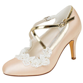 Pumps Wedding Shoes Closed Toe 3 inch High Heel Champagne Flowers Stiletto