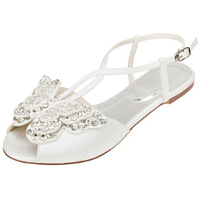 Beautiful Peep Toe Strappy Rhinestones Butterfly Satin Wedding Shoes Flats Sandals Round Toe