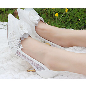Flower Wedding Shoes Tulle Pointed Toe Pumps Stilettos Appliques Dress Shoes 8 cm High Heels