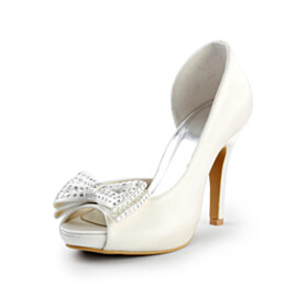 Bridals Wedding Shoes With Rhinestones Evening Party Shoes Dress Shoes Peep Toe 4 inch High Heel Beautiful