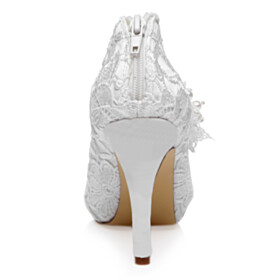Evening Party Shoes Shooties Lace 10 cm High Heels Shoes White