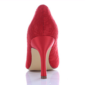 Red High Heels Lace Wedding Shoes For Bridal Closed Toe Pumps Evening Party Shoes Slip On
