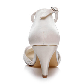 Beautiful Party Shoes Bridals Wedding Shoes Satin Stilettos Pointed Toe With Ankle Strap Mid Heels