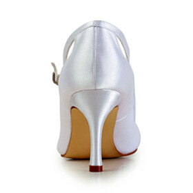 Wedding Shoes For Women 8 cm High Heel Round Toe Pumps With Bow Ankle Strap Evening Party Shoes