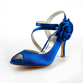 Beautiful Wedding Shoes Satin Party Shoes With Flower High Heel Blue Peep Toe Strappy Sandals Round Toe