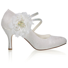 Stilettos Pumps With Flower 3 inch High Heel Strappy Tulle Party Shoes White