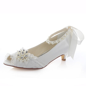 Low Heels Peep Toe Wedding Shoes For Bridal With Ankle Strap Satin Kitten Heel Rhinestones Pumps