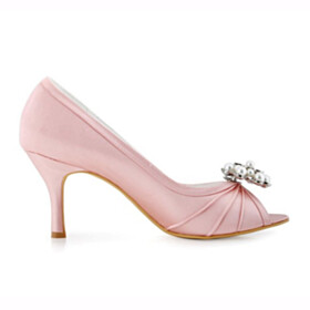 8 cm High Heels Satin Elegant Rhinestones Peep Toe Pleated Dress Shoes Stilettos Wedding Shoes For Bridal Pumps Pink