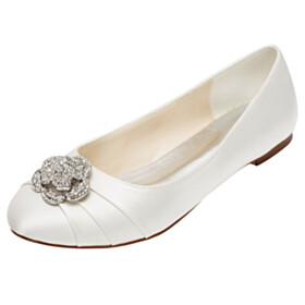 Flats Wedding Shoes For Bridal Satin Pleated With Metal Jewelry Elegant Round Toe