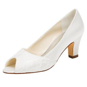 Wedding Shoes For Women Satin Lace Sandals Round Toe Open Toe Formal Dress Shoes 6 cm Mid Heel Stiletto