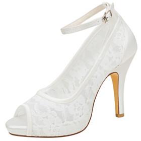 Dress Shoes 4 inch High Heel Elegant Peep Toe Sandals Flower Bridal Shoes Pumps Stiletto
