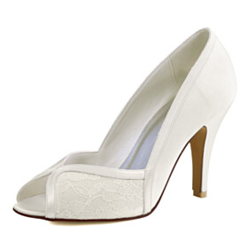 Sandals Open Toe Stilettos Elegant Pumps High Heel Tulle Wedding Shoes For Women Satin