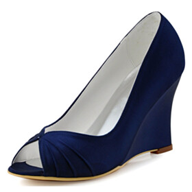 Peep Toe Round Toe 3 inch High Heel Sandals Pumps Wedge Wedding Shoes For Women Satin Dress Shoes