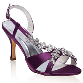 Strappy 3 inch High Heel Rhinestones Metal Jewelry Bridal Shoes 2021 Elegant Eggplant Sandals For Women Evening Party Shoes