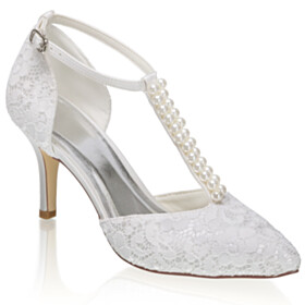 3 inch High Heel Pearls Stiletto Satin Pointed Toe Party Shoes Pumps Wedding Shoes For Women Ankle Strap Lace