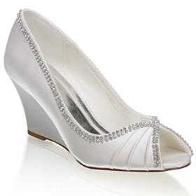 Satin Pleated Peep Toe Wedges Wedding Shoes For Bridal Elegant Pumps