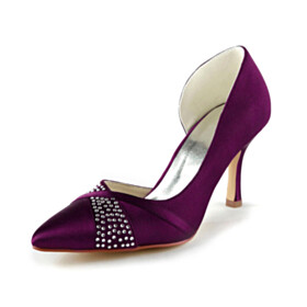 Stilettos Party Shoes Satin Elegant Wedding Shoes For Bridal D orsay High Heel Pointed Toe