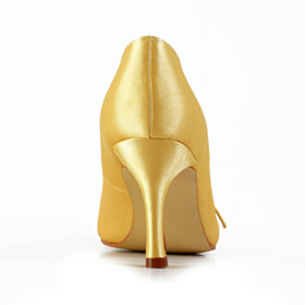 With Metal Jewelry Pumps Wedding Shoes 3 inch High Heeled Elegant Yellow Dress Shoes Satin