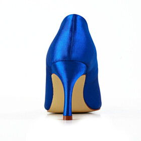 Pumps With Rhinestones Elegant Blue Stiletto 3 inch High Heel Sweet Heart Pointed Toe Bridals Wedding Shoes